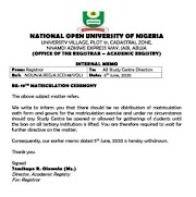Noun 2020 matriculation ceremony to be conducted on Zoom