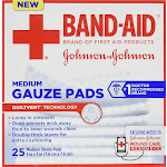 Band-Aid First Aid Medium Gauze Pads, 3 Inch X 3 Inch - 25 Count