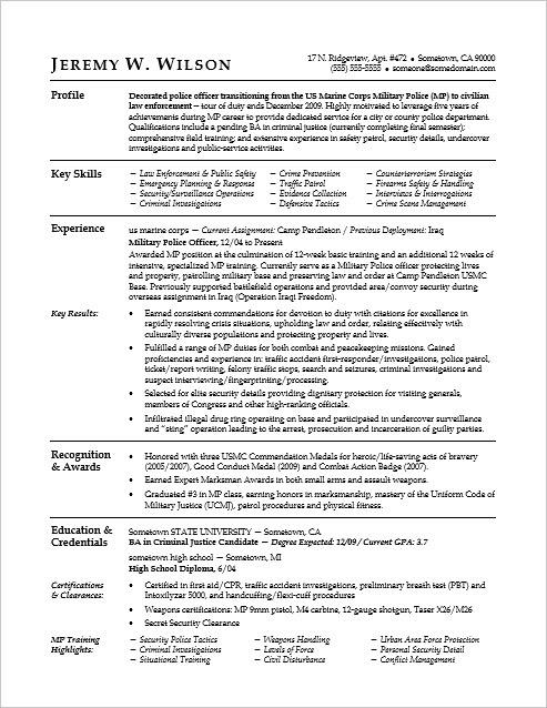 military civilian resume sample