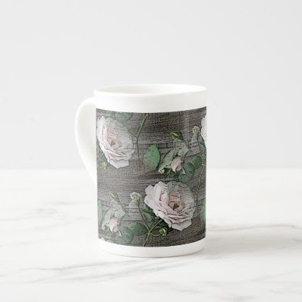 Roses on Weathered Wood Porcelain Mugs