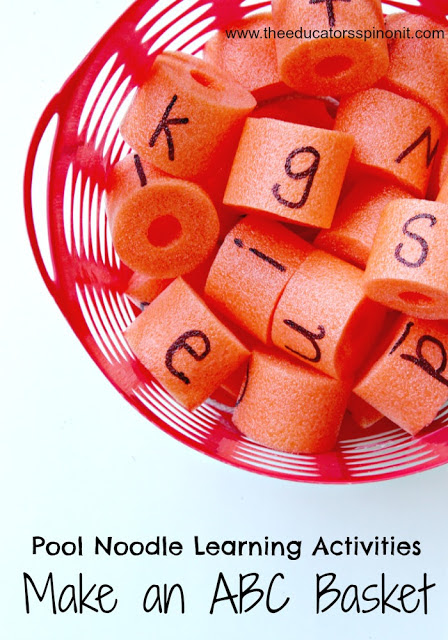 WOW - with just ONE pool noodle? Such a great literacy tool. Make a Pool Noodle Alphabet Basket for Learning Letters