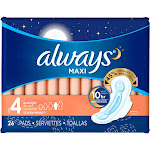 Always Maxi Overnight Pads with Flexi-Wings, Size 4 - 26 count