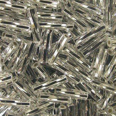 tb3tb21 Japanese Seedbeads - #3 Toho Twisted Bugles - Silver Lined Crystal