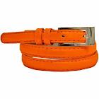 Luxury Divas Skinny Faux Patent Leather Belt - Orange - X-Large