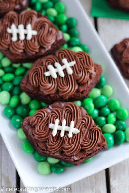 Frosted Football Brownies | Celebrating Sweets