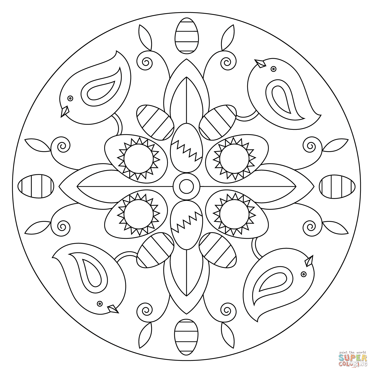 Easter Mandala with Birds and Eggs coloring page | Free ...