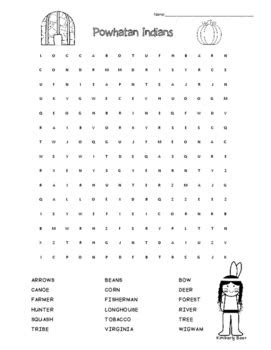 Powhatan Indians Word Search by 4 Little Baers | TpT