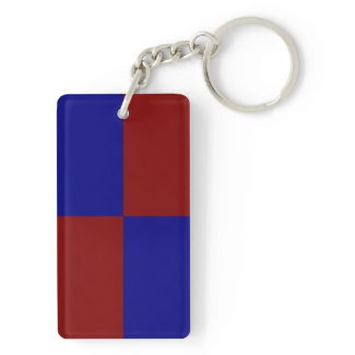 Dark Red and Blue Rectangles Rectangular Acrylic Key Chains
