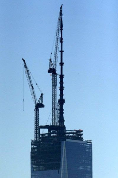 The 1 World Trade Center finally stands 1,776 feet above New York City...as of May 10, 2013.