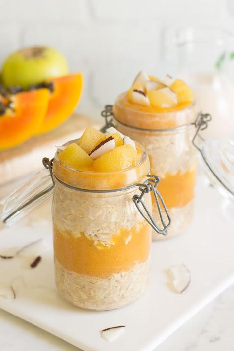 Overnight oats con manzana y papaya | El Cucharón Verde