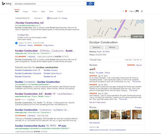 Yelp Reviews Visible on Bing Search Results | MUNDU Media LLC
