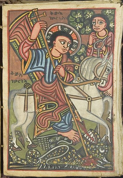 Saint on horse stabbing dragon