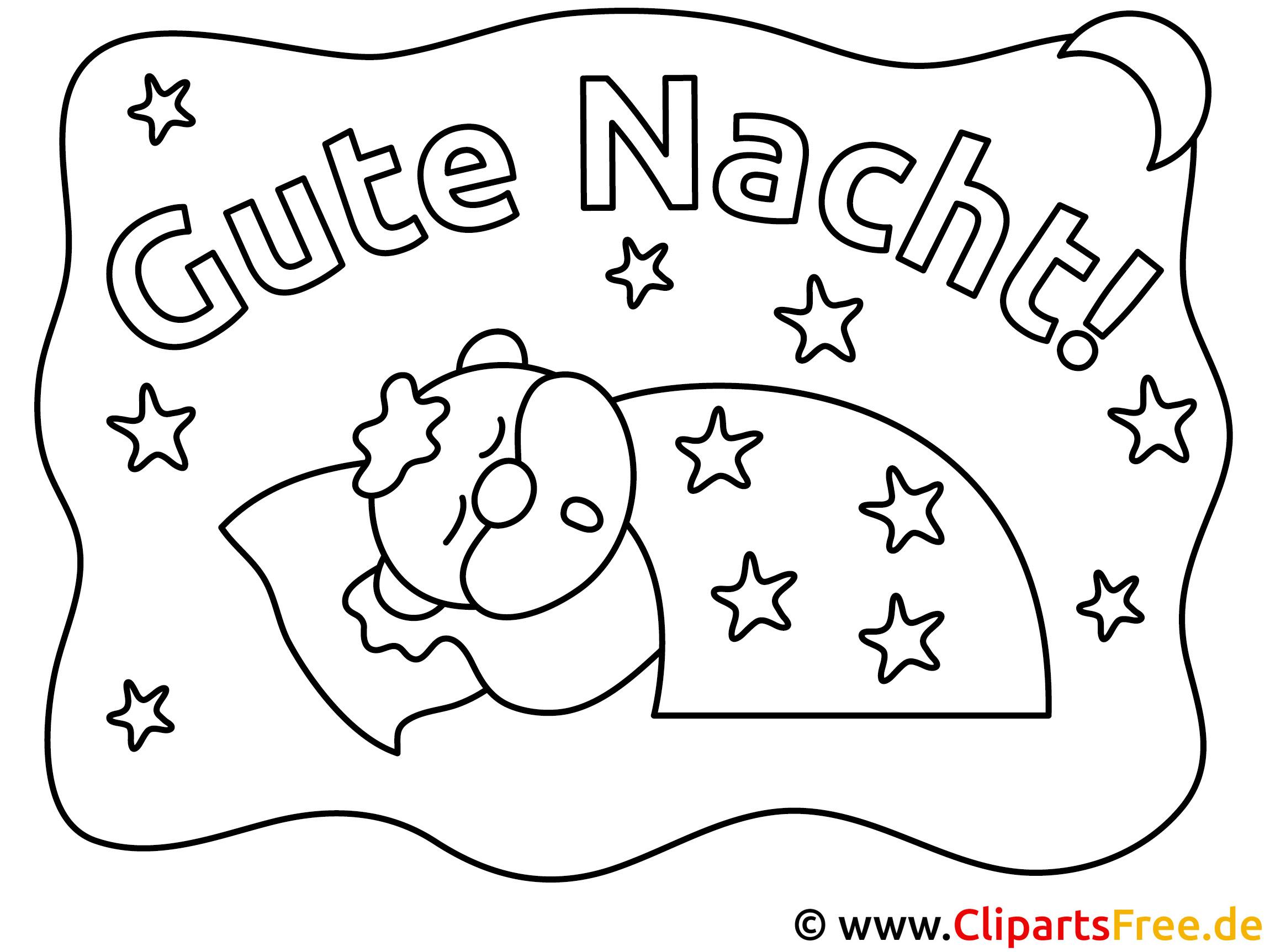 schlaf gute nacht ausmalbild fuer kinder kostenlos ausdrucken
