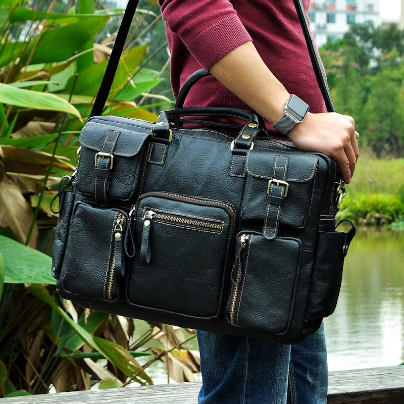 """Sale Men Real Leather Antique Large Capacity Travel Briefcase Business 15.6"""" Laptop Case Attache Messenger Bag Portfolio 3061-b"""