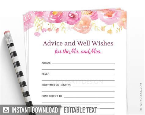 Floral Bridal Shower Advice and Well Wishes   PRINTABLE