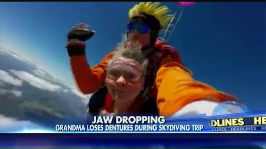 VIDEO: Grandma's Dentures Go Flying During Sky Dive