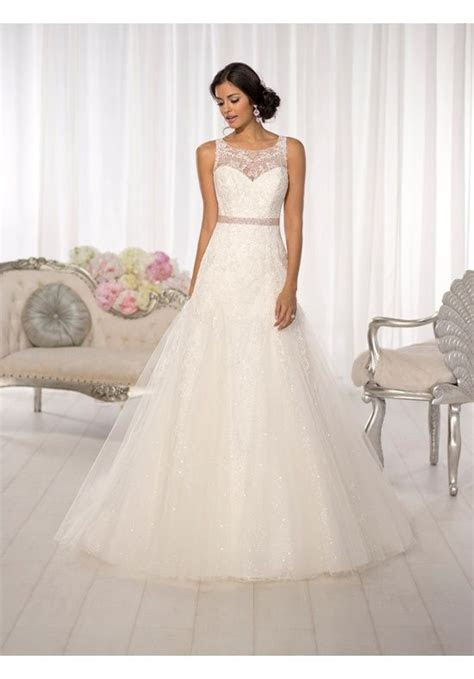 Slim, A line wedding gown with stunning illusion lace