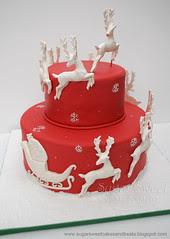 2010-12 Christmas Sleigh and Reindeer  Cake