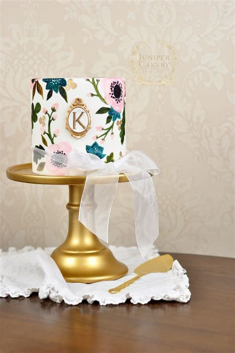 Hand Painted Rifle Paper co. Inspired Wedding Cake!