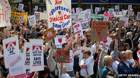 Campaigners demonstrating in Stafford in April to keep major health services at the hospital