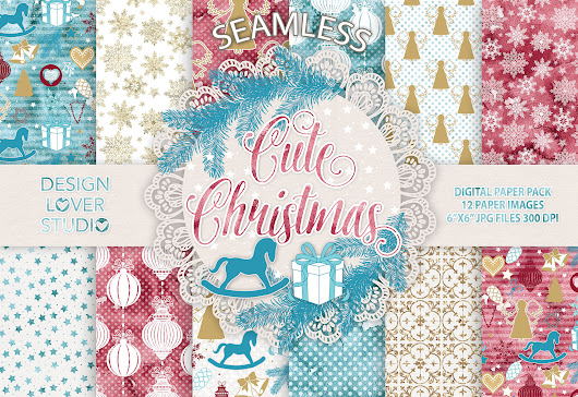 """Cute Christmas"" digital paper pack by  