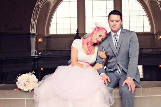 """Punk Rock is in Your Soul"" – A DIY City Hall Wedding….and a Bride in PINK: Lenore & Ryan"