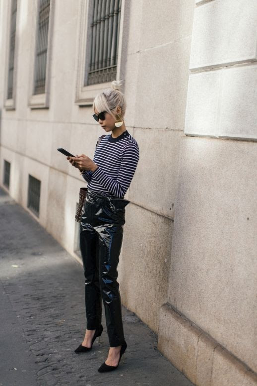 Le Fashion Blog Cat Eye Sunglasses Striped Navy Shirt Vinyl Trousers Black Heeled Pumps Via The Haute Pursuit