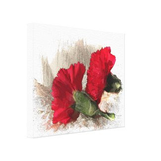 Red Carnations on Brocade Stretched Canvas Prints