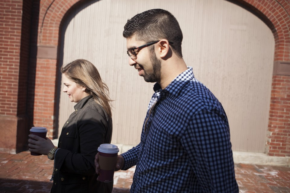 Claire Markham and Cyrus Guzdar have coffee in Washington, D.C