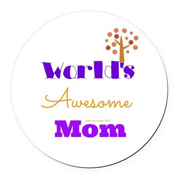 World's Awesome Mom Round Car Magnet