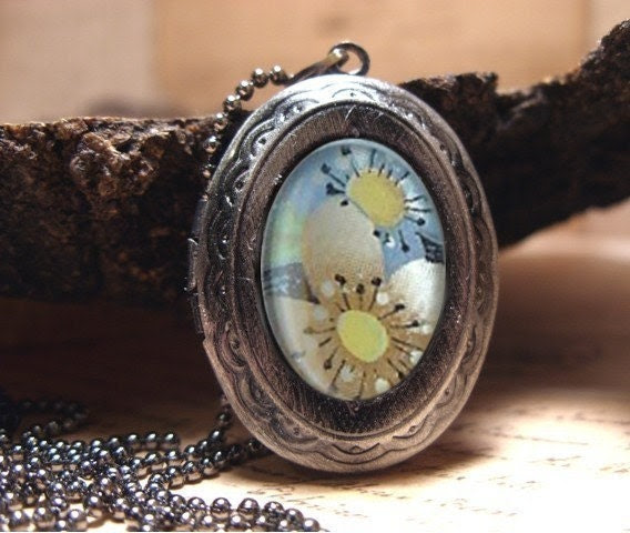 """Pastel Floral Locket Necklace, Sweet Romantic Locket to Keep all Your Secrets, Comes with 22"""" Matching Fine Ball Chain"""