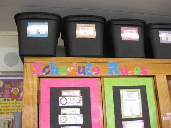 Erica Bohrer's Classroom:  monthly storage tubs