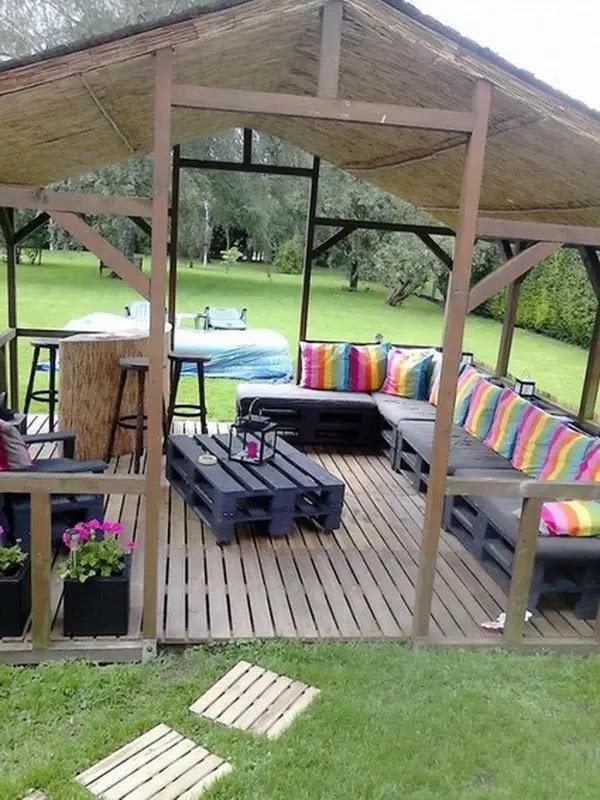 Muebles con tarimas para exteriores