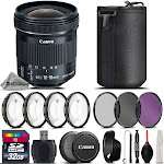 Canon EF-S 10-18mm f/4.5-5.6 IS STM Lens + 4PC Macro Kit + UV, CPL, FLD Filters
