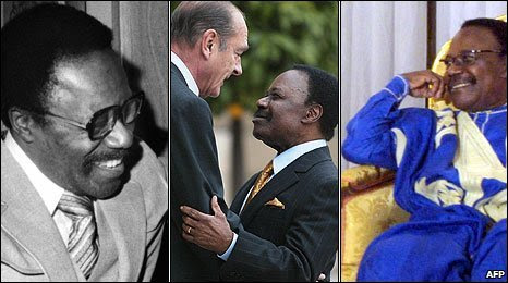 Omar Bongo in 1978 (left), in 2003 French President Jacques Chirac welcomes Omar Bongo to a meeting (centre), Omar Bongo in 2003 (right)