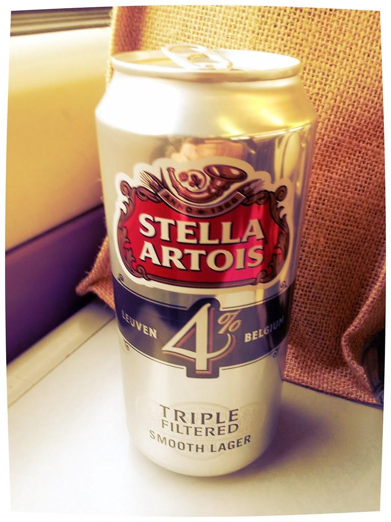 Can Stella Artois on Train