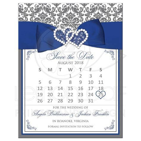 Customizable Gray, White Damask Save the Date Card