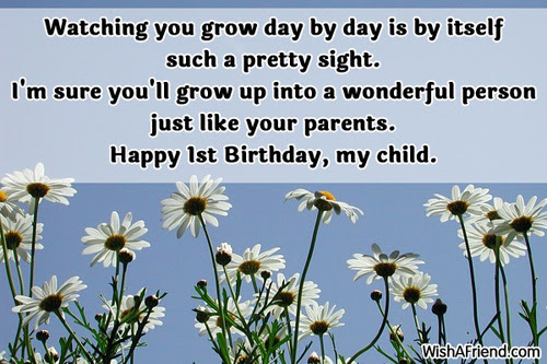 Watching You Grow Day By Day 1st Birthday Wish