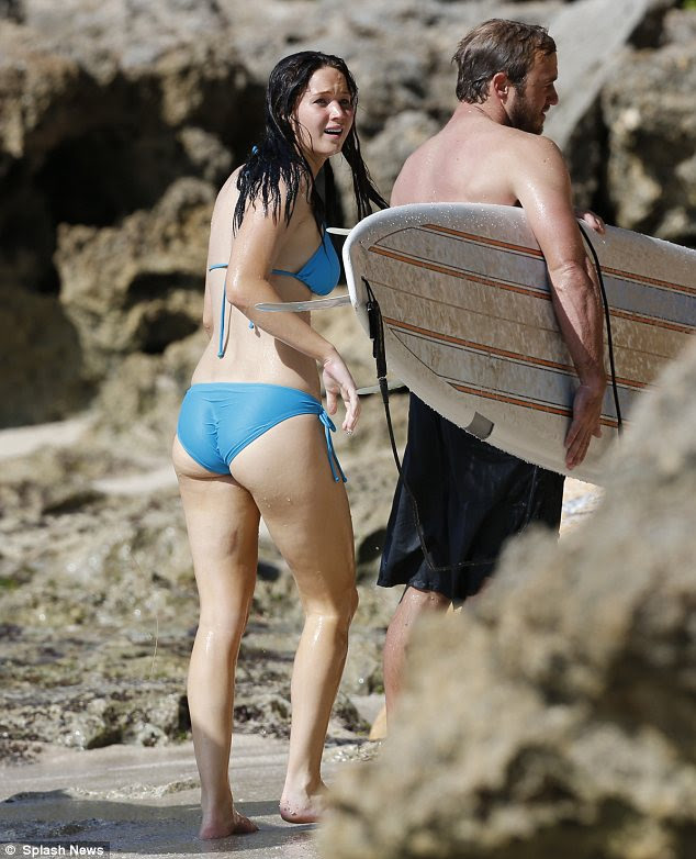 Suffering for her surfing? Jennifer sported a nasty bruise on her left as she emerged from the water