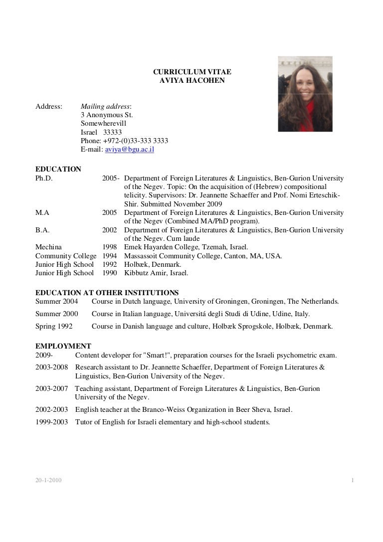 Academic Cv For Phd Application Example Best Resume Examples