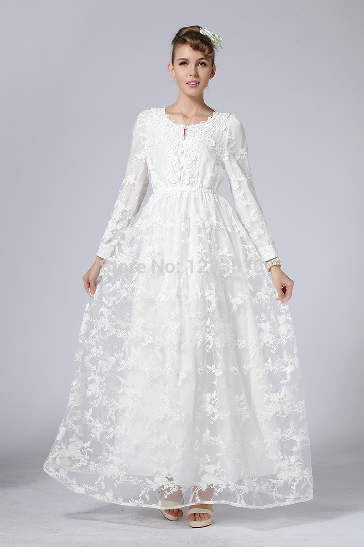 Online womens white long sleeve dress maxi now
