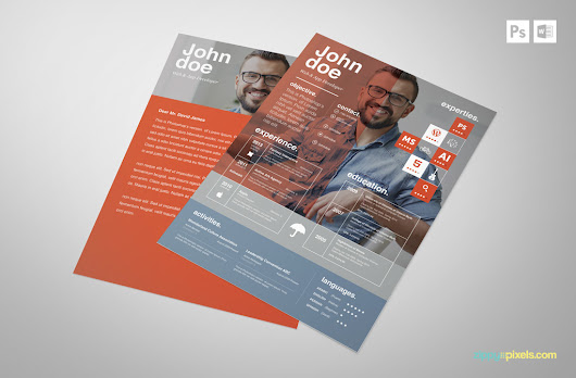 Free Creative PSD Resume Template | Premium MS Word Resume & Cover Letter Template in 3 Colors