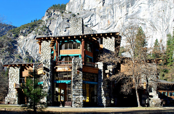 The front of the Ahwahnee Hotel