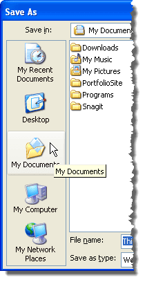 Places Bar on the Save As dialog box
