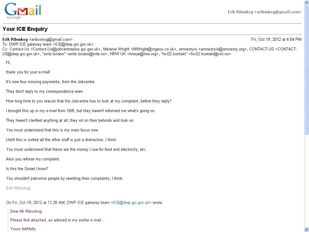 sendte en e-post til ice