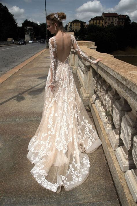 blush long sleeve backless lace tulle wedding dress, blush