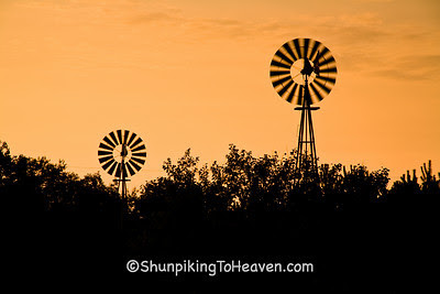 Two Windmills at Sunrise, Fayette County, Iowa