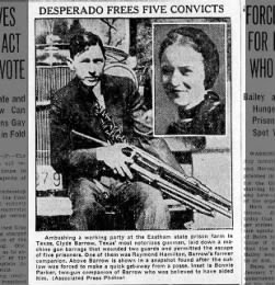 Clyde with gun. Photo of Bonnie at right.