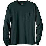 Hanes 5596 Men's Tagless Long-Sleeve Pocket T-Shirt - Deep Forest