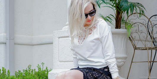 Spring outfit ideas for petites: White Lace Sweatshirt & Black Lace Skirt